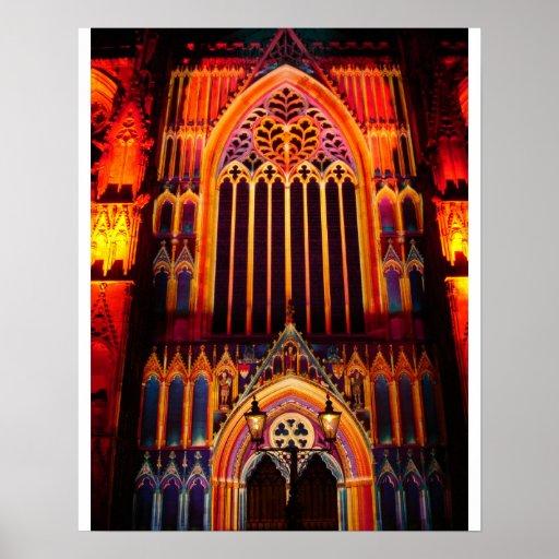 Iglesia de monasterio multicolora poster