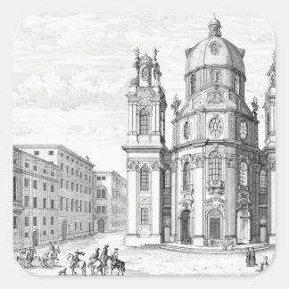 Iglesia de Notre Dame, Salzburg, Austria, de 'Ent Pegatina Cuadrada