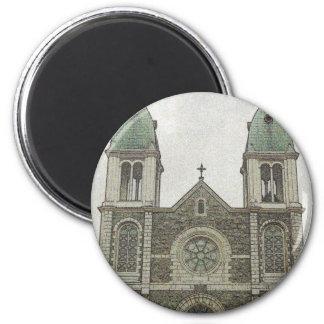 Iglesia de piedra imán redondo 5 cm