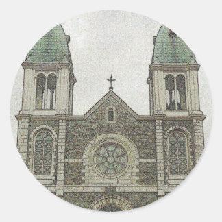 Iglesia de piedra pegatina redonda