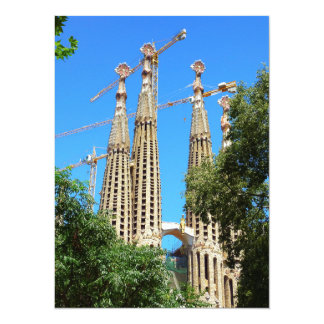 """Iglesia de Sagrada Familia en Barcelona, España Invitación 5.5"""" X 7.5"""""""