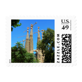 Iglesia de Sagrada Familia en Barcelona, España Sello Postal