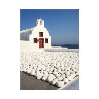 Iglesia de Santorini con las piedras blancas Lona Envuelta Para Galerías