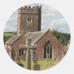 Iglesia de St Mary, Bickleigh, Devon, Reino Unido Pegatina Redonda