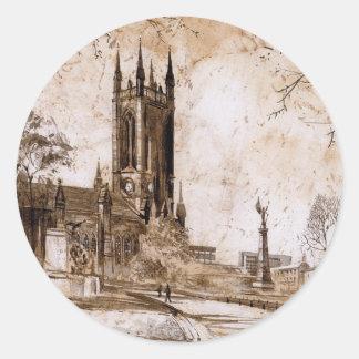 Iglesia de St Thomas, Newcastle sobre los Pegatina Redonda
