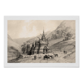 Iglesia del bastón de Borgund Impresiones