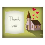 Iglesia del dibujo animado, gracias postal