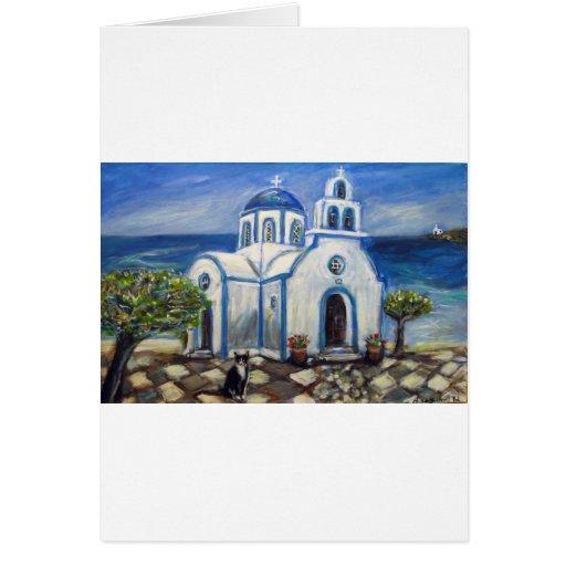 Iglesia del gato del smoking en la pintura griega  tarjeta de felicitación