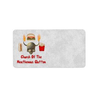 Iglesia del Glutton de Heathenous Etiquetas De Dirección