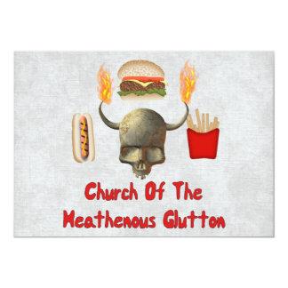 "Iglesia del Glutton de Heathenous Invitación 5"" X 7"""
