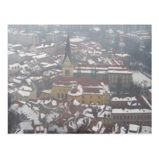 iglesia del invierno de Ljubljana Tarjeta Postal