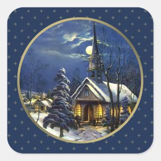 Iglesia del navidad del vintage. Pegatinas del Pegatina Cuadrada