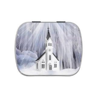 Iglesia del navidad jarrones de dulces