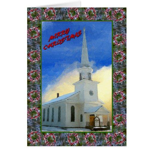 Iglesia del navidad tarjeta de felicitación