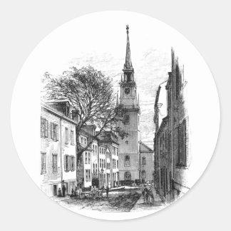 Iglesia del norte vieja pegatina redonda