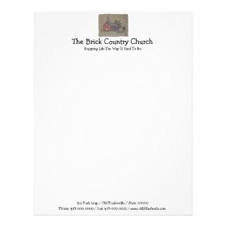 Iglesia del país del ladrillo plantilla de membrete
