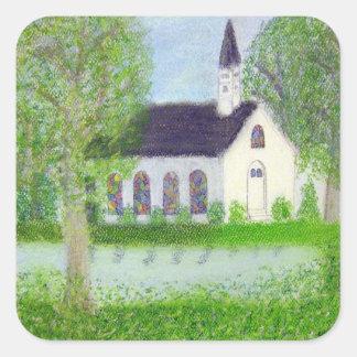 Iglesia del país calcomanías cuadradass