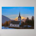 Iglesia del pueblo en las montañas posters