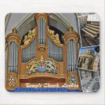 Iglesia del templo, mousepad del órgano de Londres Alfombrilla De Ratón