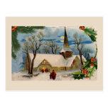 Iglesia del vintage en invierno tarjetas postales