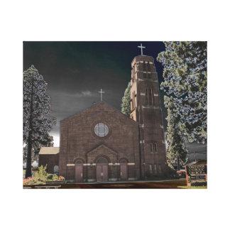 Iglesia del Visitation - bancos, Oregon Lona Estirada Galerías