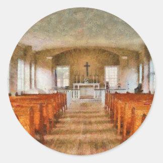 Iglesia - dentro de una iglesia etiquetas redondas