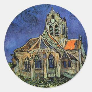 Iglesia en Auvers de Vincent van Gogh Pegatina Redonda