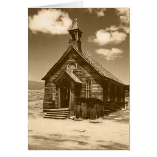 Iglesia en Bodie, tarjetas de CA (sepia)