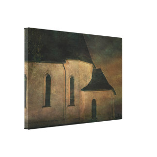 Iglesia en el crepúsculo lienzo envuelto para galerias