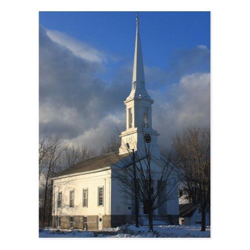 Iglesia en el invierno, campo común de Royalston Postal