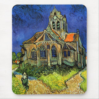 Iglesia en la bella arte de Auvers Van Gogh Alfombrilla De Ratones