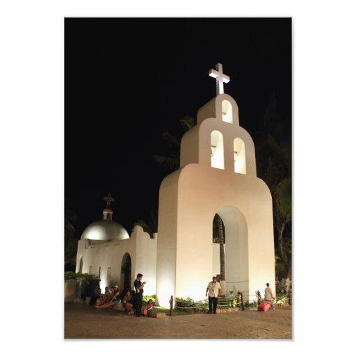 Iglesia en la noche, Playa del Carmen México Impresión Fotográfica