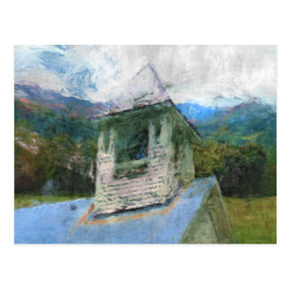 Iglesia en las montañas tarjeta postal