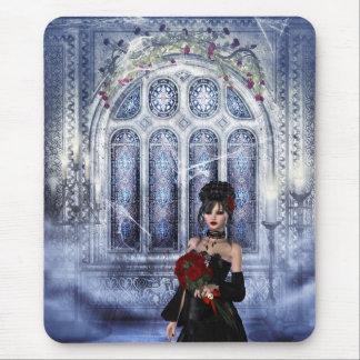 Iglesia espeluznante Mousepad con la novia del gót Alfombrillas De Ratón