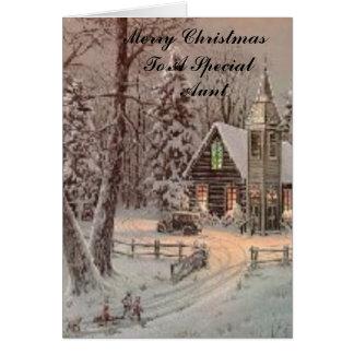 iglesia, Felices Navidad a una tía     especial Tarjetón