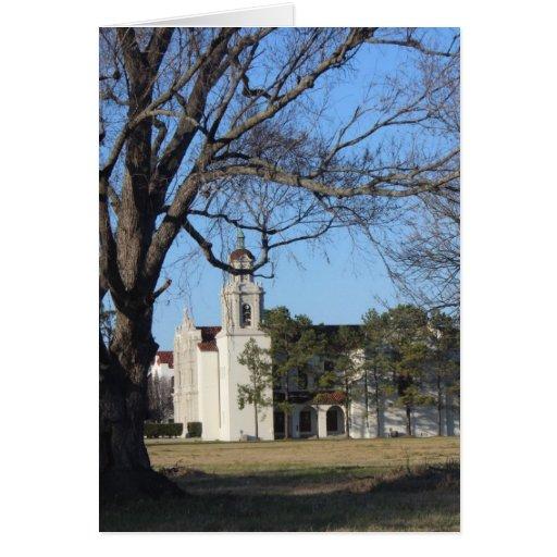 Iglesia gótica de la caída tarjeta de felicitación