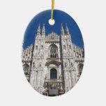 Iglesia gótica Milano Italia de la catedral de Adorno Navideño Ovalado De Cerámica