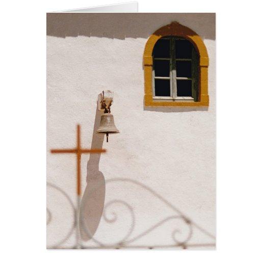 Iglesia griega con la cruz y Bell Paxos Tarjeta Pequeña