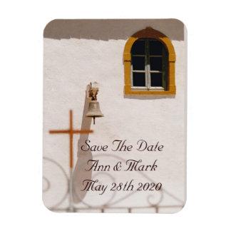 Iglesia griega con reserva de la cruz la fecha imanes de vinilo