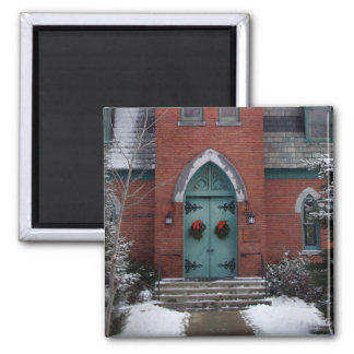 Iglesia histórica en imán de la nieve
