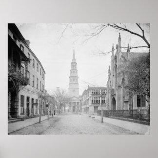Iglesia hugonote francesa y la iglesia de St Phili Poster