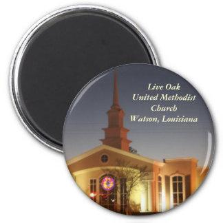 Iglesia metodista unida de Live Oak Imán Redondo 5 Cm