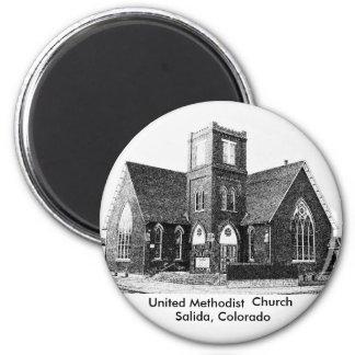 Iglesia metodista unida imán redondo 5 cm