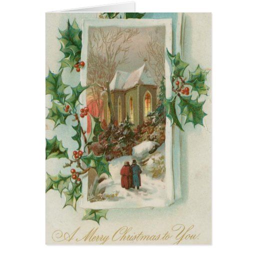 Iglesia Nevado del navidad del vintage Tarjeton