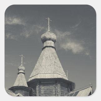 Iglesia ortodoxa rusa de madera 3 de Ttraditional Pegatina Cuadrada