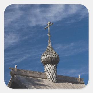 Iglesia ortodoxa rusa de madera de Ttraditional Pegatina Cuadrada