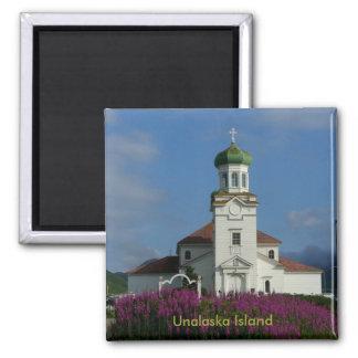 Iglesia ortodoxa rusa en la isla de Unalaska Imán Cuadrado