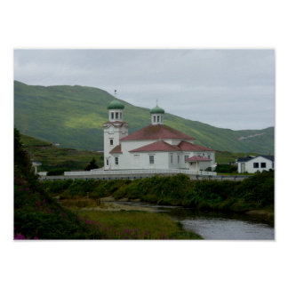 Iglesia ortodoxa rusa en la isla de Unalaska Poster