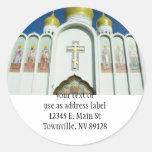 Iglesia ortodoxa rusa etiquetas redondas