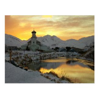 Iglesia ortodoxa rusa, salida del sol del invierno postal